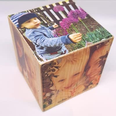 Wooden Photo Cube with Your Photos - A Beautiful Gift!