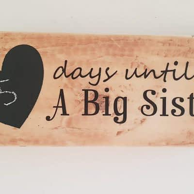 Big Sister Countdown with Chalkboard Heart