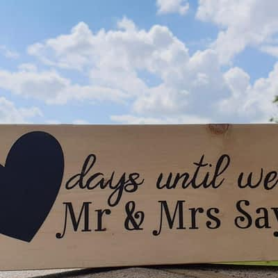 Personalised Wedding Countdown with chalkboard heart