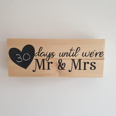 Wedding countdown with chalkboard heart