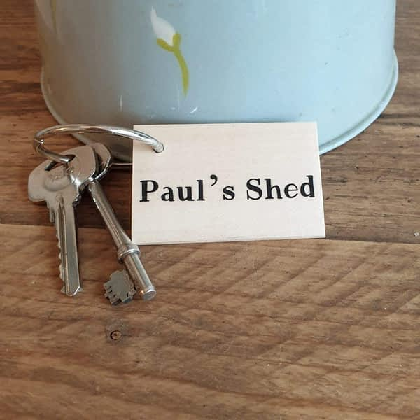 personalised shed keyring
