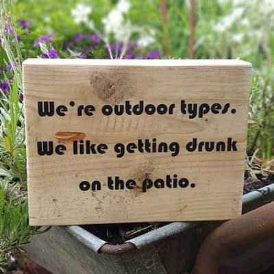 We're outdoor types funny quote block