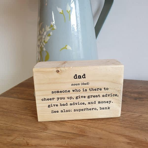 Dad definition Printed in wood