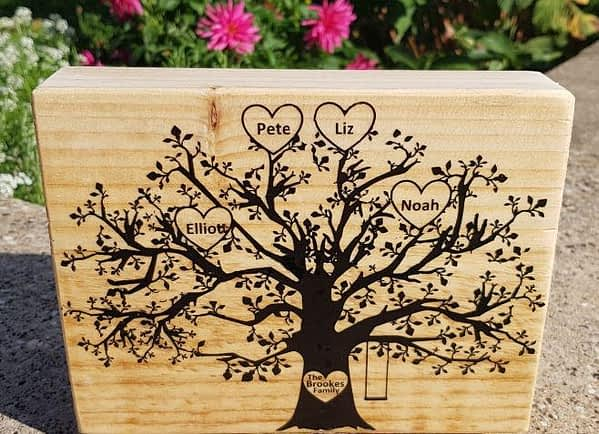 personalised family tree on wood