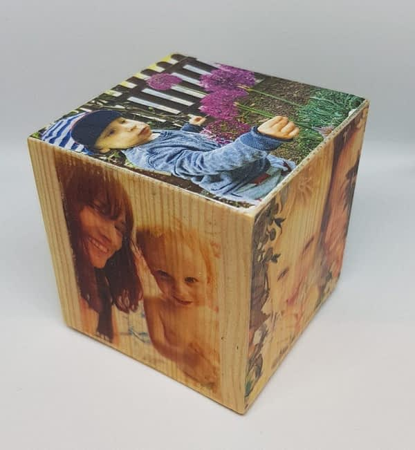 wooden photo cube